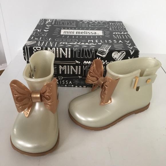 Mini Melissa girls pearl rain boots size 10 new